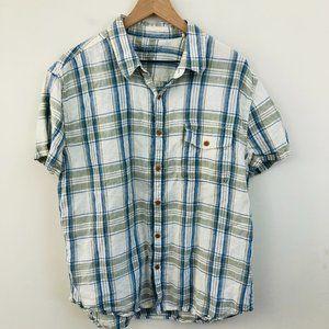 Lucky Brand Plaid Linen California Button Up Shirt